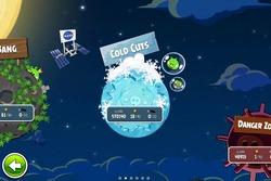 Pantalla de selección de nivel en 'Angry Birds Space'